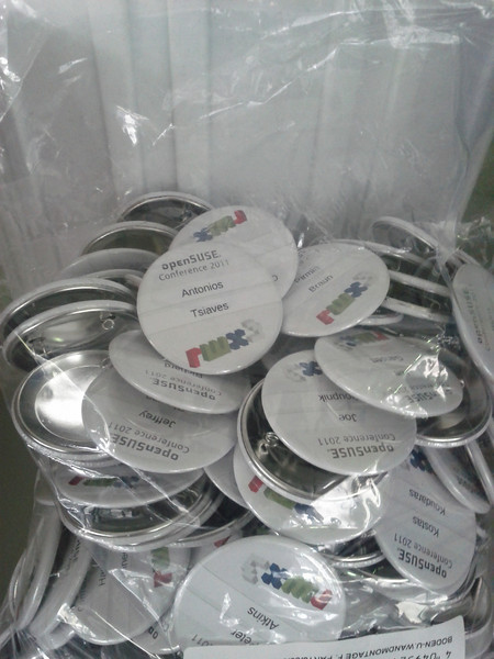 Ismail produced the first batch of badges - buttons!